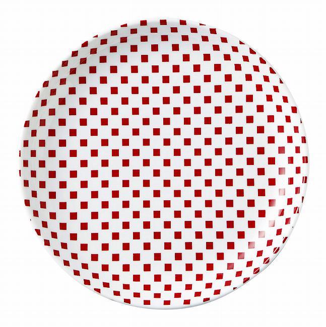 市松 赤 23cm丸皿 画像