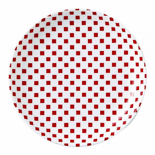 市松 赤 19cm丸皿 画像