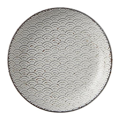 古代粉引き 青海波 13cm丸皿