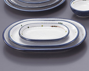 古代釉グリン散らし(強化)小判7寸皿