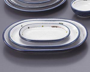 古代釉グリン散らし(強化)小判12寸皿