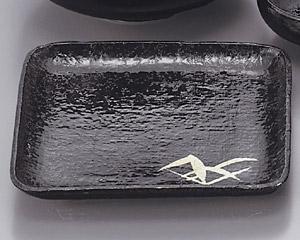 黒藍染笹丼正角盛皿