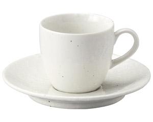 粉引黒い斑点 コーヒーカップと受皿