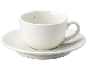 粉引黒い斑点 兼用カップと受皿