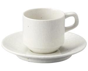 粉引黒い斑点 スタックコーヒーカップと受皿