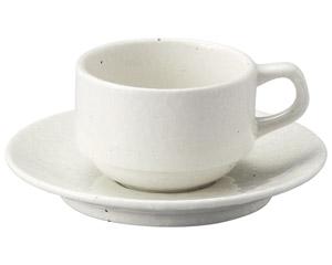 粉引黒い斑点 スタック兼用カップと受皿
