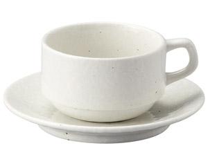 粉引黒い斑点 スタックカプチーノカップと受皿