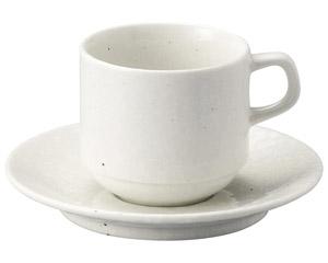 粉引黒い斑点 スタックアメリカンカップと受皿