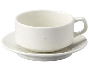 粉引黒い斑点 スタックスープカップと受皿