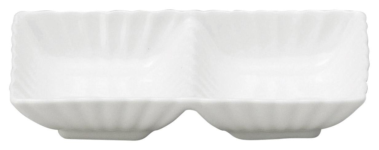 かすみ 白 2連皿