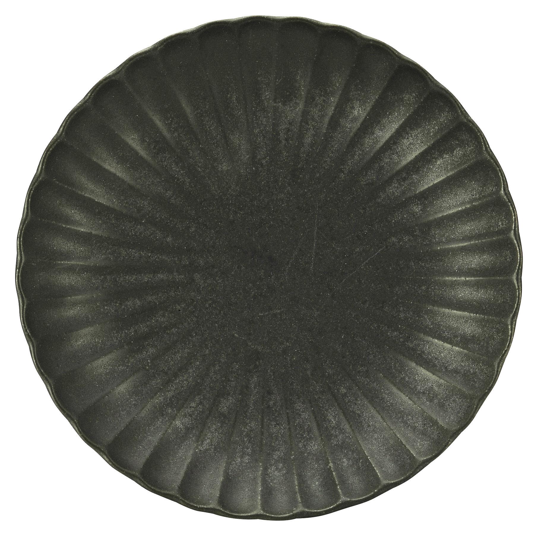かすみ 黒 18cm丸皿 画像1
