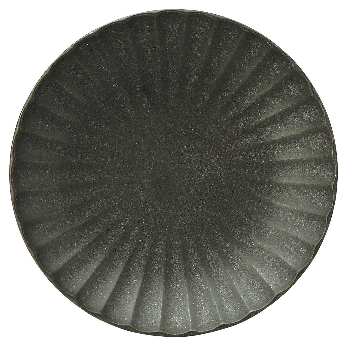 かすみ 黒 12.5cm丸皿 画像
