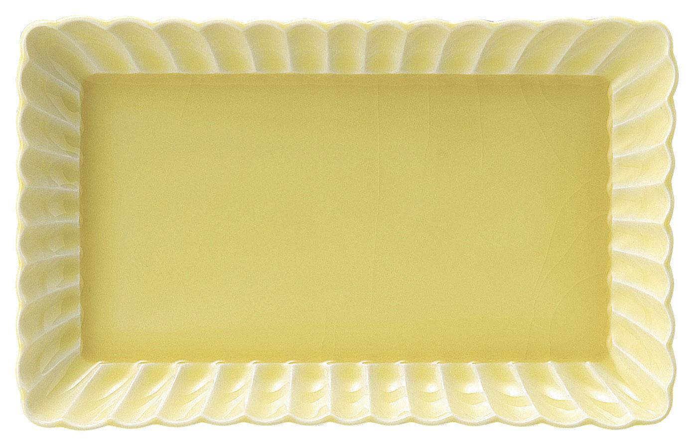 かすみ 黄 21cm長角皿