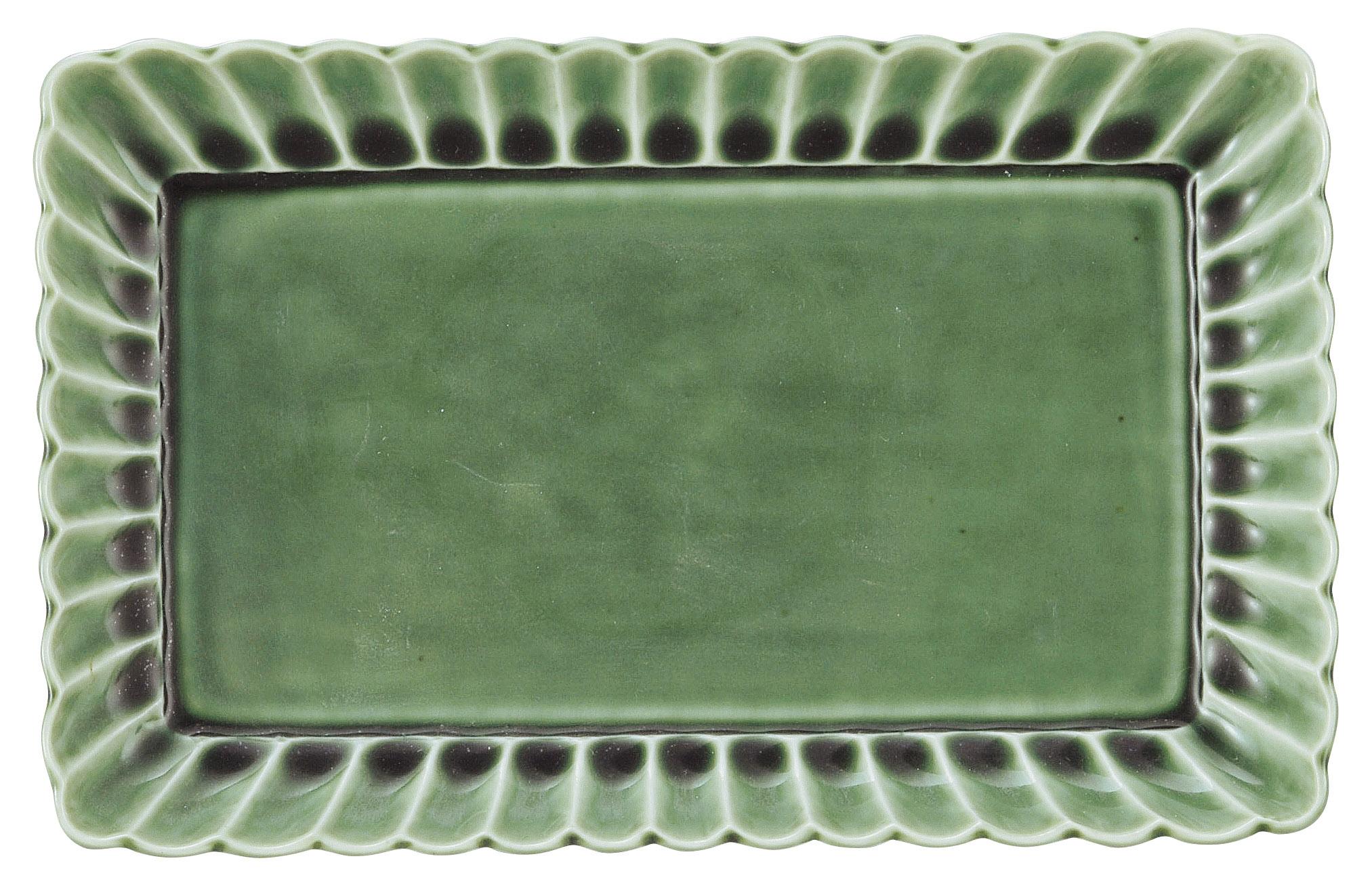 かすみ 緑 21cm長角皿