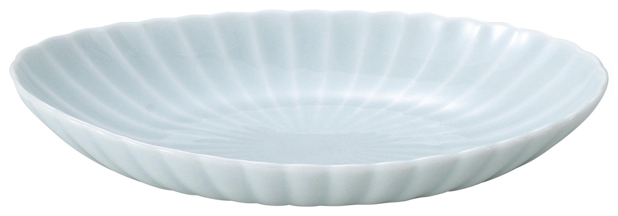 かすみ 青白 楕円皿 大