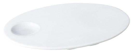 フラット23cm楕円ディンプルプレート