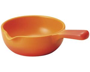 バーニャカウダ 直火用 手付きソースパン ベイクオレンジ 大