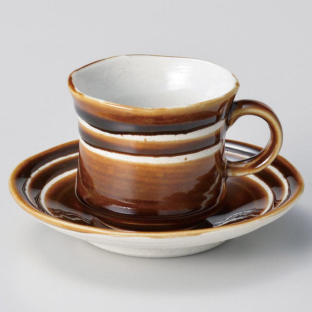 アメ釉ラインコーヒー碗