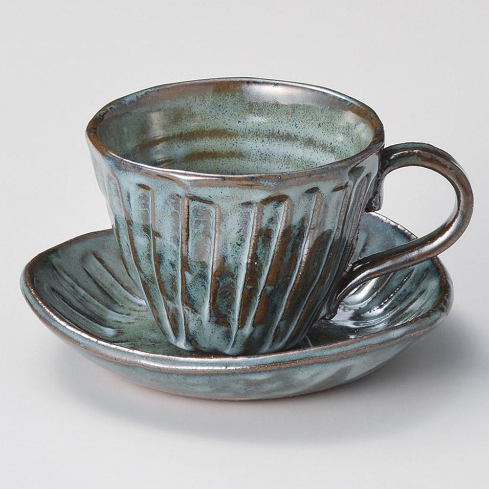 黒均窯十草コーヒー碗皿