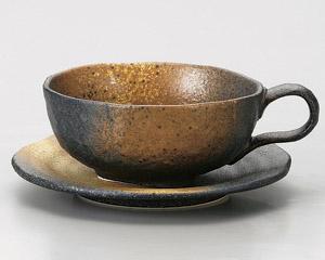 黒備前スープカップと受皿