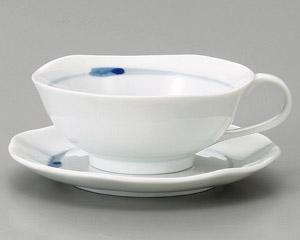 ブルーライン手付カップと受皿