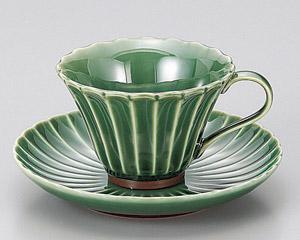 緑彩菊コーヒーカップと受皿