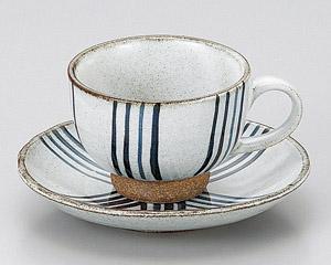 粉引十草コーヒーカップと受皿