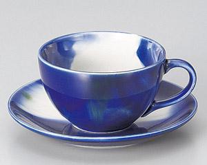 ブルーマーブルコーヒーカップと受皿(軽量)
