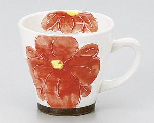 粉引一珍花マグカップ(紅)