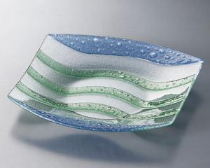 ガラス 清流四角盛皿