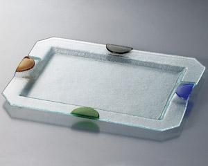 ガラス つば形盛皿