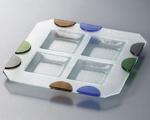 ガラス つば形四角盛皿