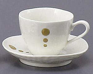 白マットポイントコーヒーカップと受皿