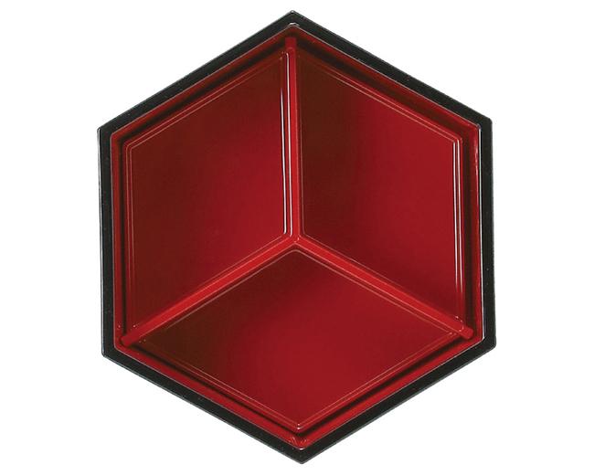 [A]5寸六角弁当溜布目内朱 2段セット(T、Y仕切) サムネイル3