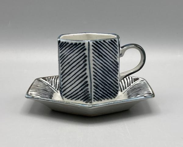 ストライプ六角コーヒー碗皿(在庫10限り) 画像