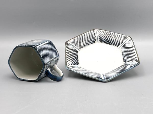 ストライプ六角コーヒー碗皿(在庫10限り) サムネイル2