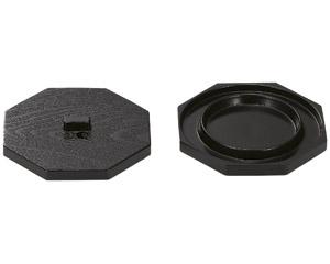 [メラミン樹脂製]茶碗蒸し八角蓋 黒木目