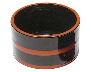 [A]桶型つゆ入れ 黒に帯朱