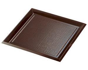 [樹脂製]7寸角布目そば皿 溜本体のみ