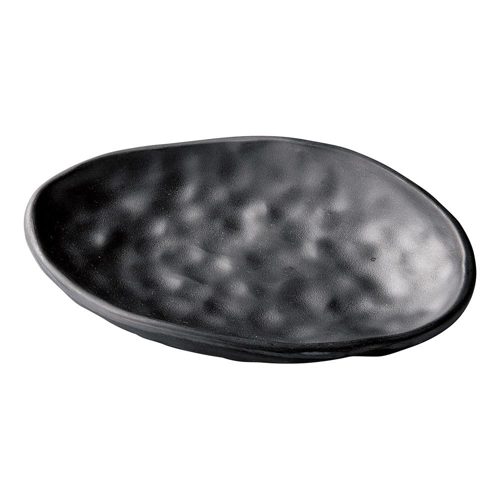 [M]19.3ひねり楕円曲皿 黒マット
