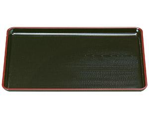 [A]一休木目盆 黒天朱尺2寸