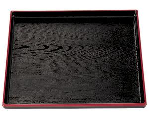 [A]正角木目盆 黒天朱尺1寸