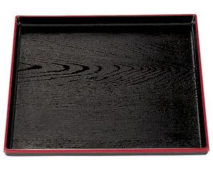 [A]正角木目盆 黒天朱尺2寸