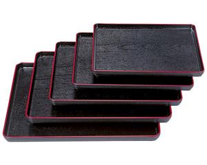 [TA]耐熱大寿木目盆 黒天朱尺1